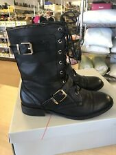 Sole Society Nessie 8M Black Lace-up Boots w/ Strap Detail