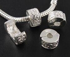 Lots 10pcs Silver Stopper Beads Clips/Locks Fit European Charm Bracelet  DIY