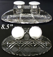 """HUGE Elegant Antique English Sterling Silver & Cut Crystal 8.5"""" Double Inkwell"""