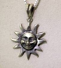 "Sterling Silver Character Sun Face Necklace w/Italian Box Chain 25"" - 5292"