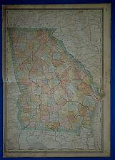 Vintage 1883 Atlas Map ~ Georgia ~ Old & Authentic ~ Free S&H