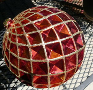 """Christmas Yard Ornament 9""""  Ball Shatterproof Plastic Extra Large imperfect"""