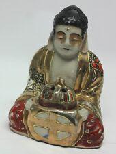 """Japanese SATSUMA Pottery SEATED BUDDHA INCENSE BURNER 3 3/4"""" Figure SIGNED"""