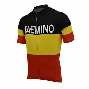 Faemino Belgium Retro Cycling Jersey Short Sleeve