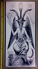 "Baphomet GIANT DOOR 24"" x 50"" Navy Blue Satanic Worship Poster Evil Art Devil"