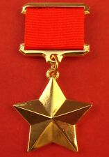 Ussr Russian Gold Star Medal Ww2 Hero of Soviet Union Numbered Replica Nice Copy