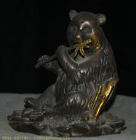 bronze doré de 15cm feng shui panda xiong bambou statue de sculpture