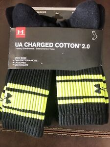 Under Armour Charged Cotton 2.0 Crew Socks 6-Pair Adult LARGE Black Neon Yellow