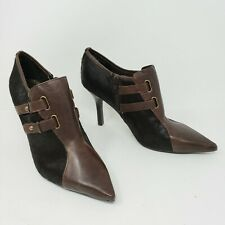 Nine West Vintage 90's Nwbela Brown Calf Hair Ankle Boots Women 9 Never Worn