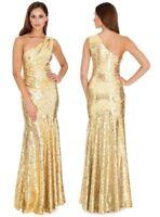 Gold Goddiva Sequin Long Party Dress-One Shoulder-Prom Dance Formal Occasion-10