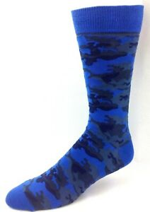 Blue Camo Men's Crew Dress Socks