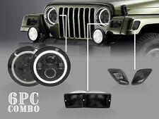 6PCS Jeep Wrangler TJ Full LED Headlight+Smoke Bumper Signal+Side Marker Lights