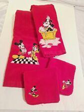 Vintage 4 pc Bath Set Disney Mickey Minnie Red 1 Bath 1 Hand Towel 2 Wash Cloths
