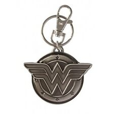 "DC Comics Wonder Woman 3D ""WW"" Chest Logo Metal Pewter Key Ring Keychain NEW"