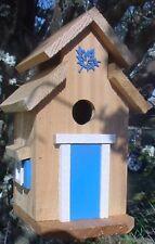 Cedar Bird House - Blue Trim