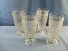 "Set of 4 Vintage Jeannette Clear Glass Iris & Herringbone Footed 6 1/8"" Tumblers"