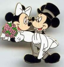 Mickey Minnie Groom Bride Wedding Couple Married Marriage Honeymoon Disney Pin