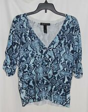 New INC Blue Geometric Womens PL 3/4 Sleeve Button Down Light Cardigan