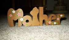 """Small Wood Mother Plaque  """"M o t h e r"""" with a floral design  ~~  Pre-Owned"""