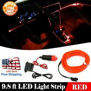 9.8Ft Car Neon Lamp Strip Interior Atmosphere Decoration Red Cold light For Ford