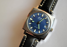 Mens Glashutte Original Senator Spezimatic Blue Square Watch 1970s GUB