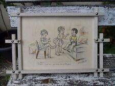 Ancienne gravure litho Germaine Bouret cadre d'origine pub Rambouillet