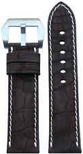 24x22 RIOS1931 for Panatime Mocha Nubuk Alligator Watch Strap with White Stitch
