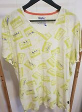 MOSSIMO Men's Size L T-Shirt Lime Green Mix Tape Pattern Cotton Slim Fit Comfy