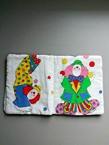 """baby toddler soft cloth 8"""" x 8"""" book handmade toy by SUE DREAMER Clowns Circus"""
