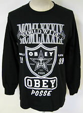 Obey Men's Long Sleeve T-Shirt Super Brawl Black Size M NEW Oakland Raiders