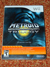 METROID PRIME TRILOGY COLLECTOR'S EDITION Wii GAME STEEL TIN CASE BRAND NEW