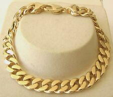 HEAVY GENUINE 9K 9ct Yellow Gold UNISEX FLAT CURB BRACELET  23 cm