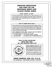 Sears Craftsman  Table Saw Manual Model # 113.29991