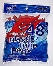 48 Coloured Plastic Tulip Pegs
