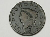 Better-Date 1827 US Coronet Head Large Cent Coin.  #168