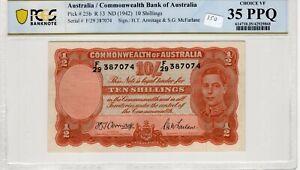 Australia 1942 10 Shillings PCGS Banknote Choice VF 35 PPQ Pick25b R13
