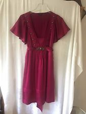 UK 12 TED BAKER SIZE 3 MAGENTA PINK & BRONZE STUDS 100% SILK SHORT SLEEVED DRESS