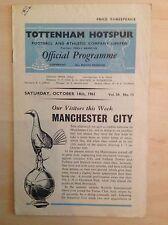 Tottenham v Man City 1961-62 programme