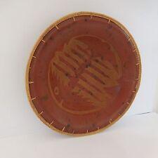 Plat céramique d'art terre cuite rotin fait main vintage Afrique XXe