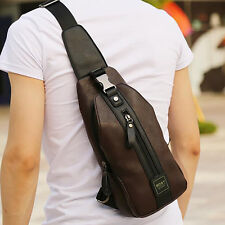 PU Leather Men Casual Sling Chest Day Back Pack Shoulder Messenger Crossbody Bag