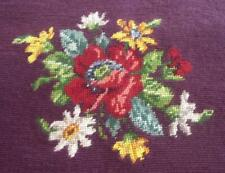 Vintage Wool Needlepoint Canvas Chair Cover Burgundy Floral Embroidery Complete