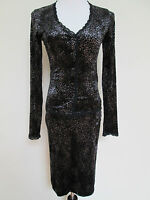 Betsey Johnson Vintage Gray Black Leopard Stretch Velvet Jacket Skirt Suit Sz M