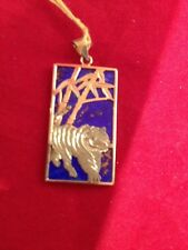 14k Gold And Lapis Pendant Tiger