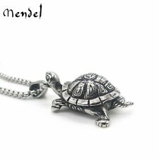 MENDEL Stainless Steel Mens Turtle Tortoise Pendant Necklace Jewelry Men Silver
