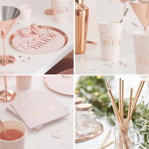 HEN PARTY TABLEWARE - ROSE GOLD AND PINK HEN PARTY CUPS PLATES NAPKINS