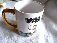 VINTAGE PORCELAIN CUP NAME VAL O.D.C  1968 IRON STONE