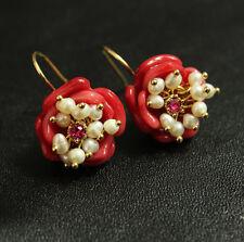 Boucles d`Oreilles Fleur Rouge Perle de Culture d`Eau Douce Original Cadeau L1