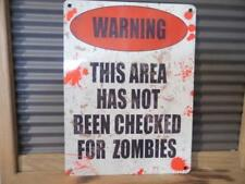 VINTAGE RETRO STYLE METAL WALL SIGN PLAQUE WARNING AREA NOT CHECKED FOR ZOMBIES