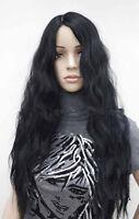 Women Lady Black Fancy Party Function Corn Wavy Curly Long Hair Full Wig Wigs