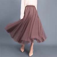 Princess Women Ladies Tulle High Waist Pleated Beach Maxi PartyLong Dress Skirt